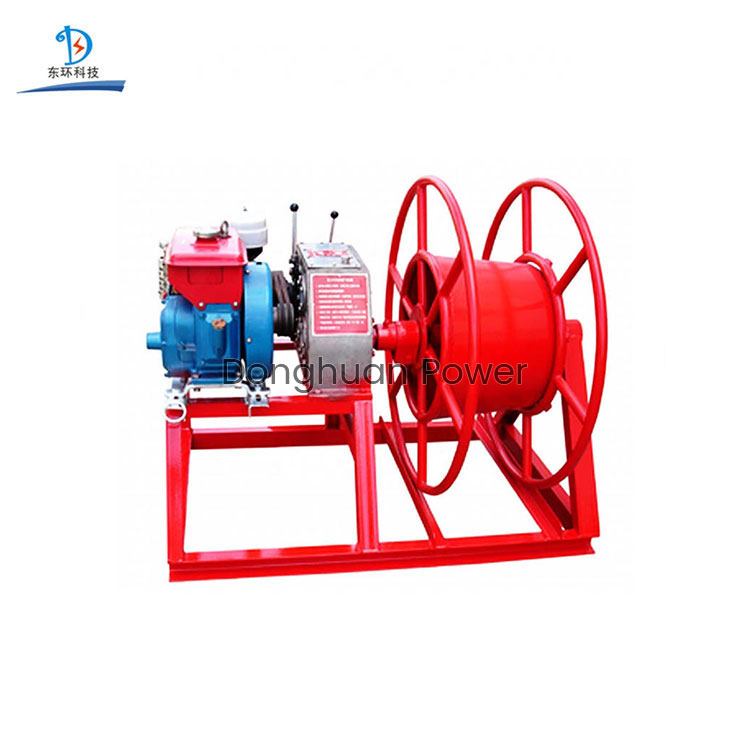 5 Ton 30 KN Belt Drive Recovery Wire Take-Up Machine Diesel Gasoline Engine Big Drum Mobile Traction Cable Pulling Winch