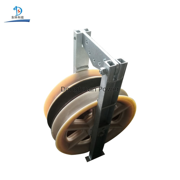 822mm Large Diameter Transmission Overhead Cable Roller Nylon Sheave Block Pulley Wih Three Wheels