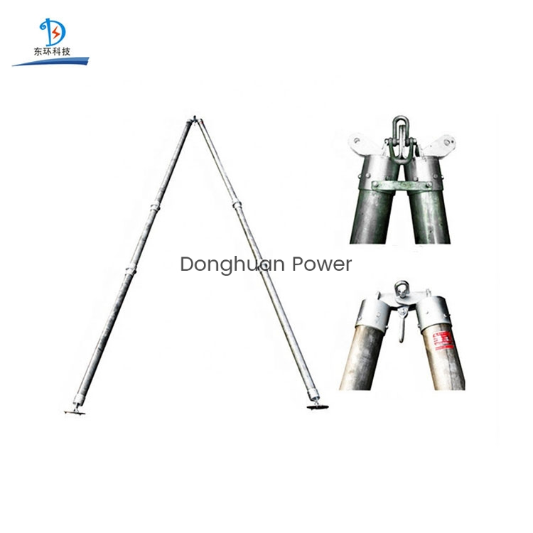 A-Shape Tubular Electric Power Gin Pole Stringing Equipment Aluminum Extension Pole