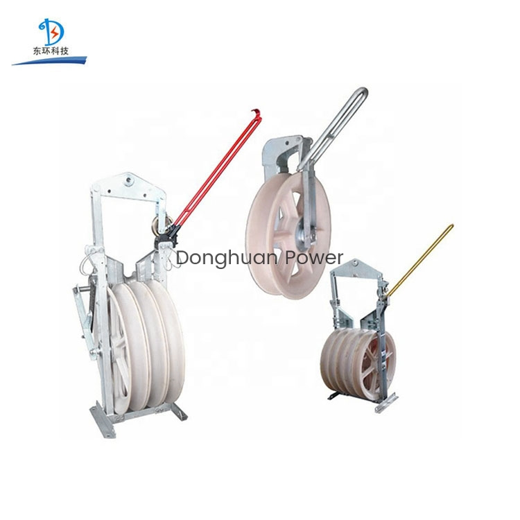 Power Transmission Line Stringing Construction Bundled Conductor Aerial Helicopter Stringing Blocks